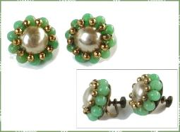 Signed Coro Baroque and Jade Earrings