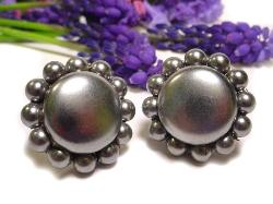 Faux Pearl Button Earrings