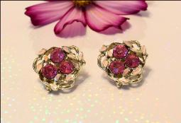 Pink Sets and Pink Enamel Leaves Clip ons