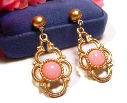 Golden and Pink Post Earrings