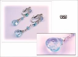 Silver Clip Earrings Features Aquamarine Briolettes