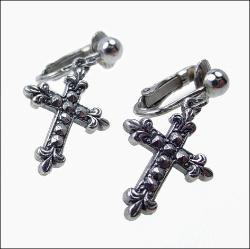 Silvertone Cross Earrngs | Religious Vintage Earrings