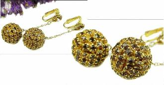 Round Ball Paved Earrings | Vintage Clip Earrings