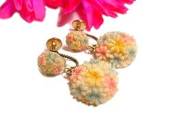 Exceptional Color, Carved Pastel Flower Dangles