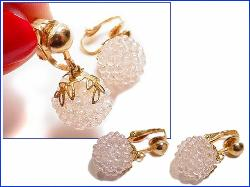 White Ball Dangle from Golden Filigree Caps | Vintage Earrings