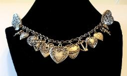 Lined with Hearts, Pressed Metal Chatelaine Sweater Guard