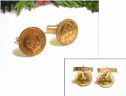 Gold wash Ccuff Links Indian Head Cent 1902 & 1907 dates
