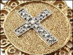 The cross is centered with a genuine tiny diamond