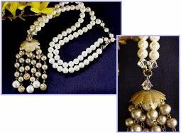 Simulated White Pearls with Tassel necklace