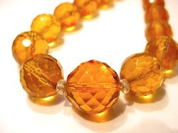 Amber Glass Facet Glass Link Necklace