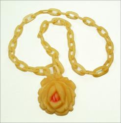 Antique carved celluloid rose necklace chain