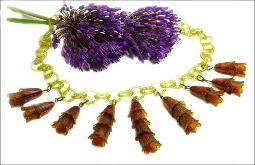 Antique celluloid necklace, two tone, with fringe of bells