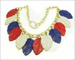 Carved Red White Blue Leaves Celluloid Necklace, antique plastic jewelry