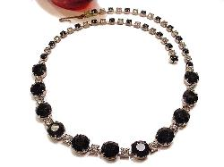 Lg Black Rounds and Crystal RS Rhinestone Vintage Necklace