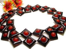 Onyx and Carnelian Heavy Vintage Necklace