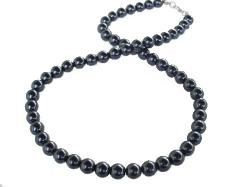 Round Black Pearl Strand Necklace
