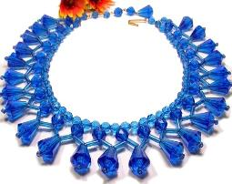 Cleopatra Blue Fringe Lucite Designer Signed W. GERMANY Necklace