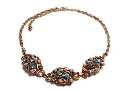 Blue Vintage Rhinestone and Pearl Necklace