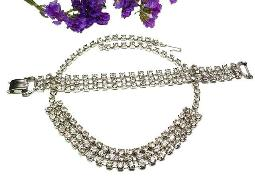 Vintage Crystal Rhinestone Necklace Parure