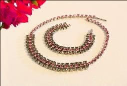 Triple Rows Pink and Smoke RS Necklace and Bracelet