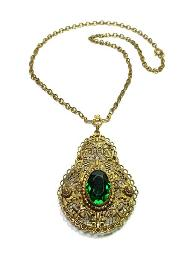 Art Deco Antique Necklace | Filigree Green Lavaliere Gold Necklace