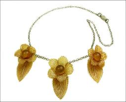 Huge Long Celluloid Flowers Dangle Antique Necklace