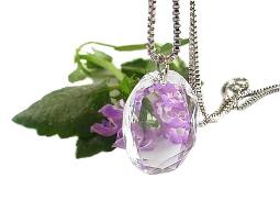 Large faceted glass pendant necklace with a stunning square box chaing