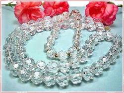 Water Look Lucite Crystal Bead Facet Necklace Parure