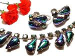 beautiful carnival glass tear drops and circ carnival glass rs necklace set