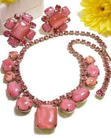 Loaded with Heavy Pink Oval Cabochons, Rounds...Vintage Jewelry Set
