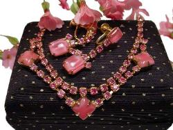Pink Demi Parure holds multi-faceted pink glass rhinestones and larger cabs