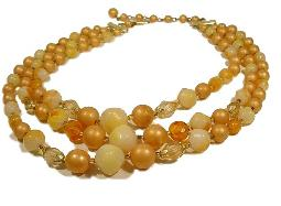 Vintage beads, three strands of matte lucite bead necklace