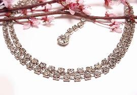 Two Row Vintage Rhinestone Necklace