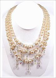 Dripping Crystal Pearl Bib Necklace and Earrings
