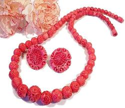 Pink Carved Necklace and Earrings