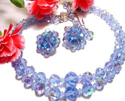 Vintage 2-Strand Blue Crystal Necklace Earrings Parure Set