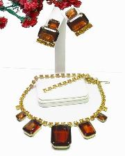Juliana D&E Necklace Demi Parure brilliant rectangle honey amber