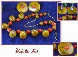 Browns/Coral Chunky Bakelite Necklace and Earrings Vintage Bakelite