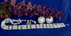 Three Strand Pearl Necklace with Crystal Beads