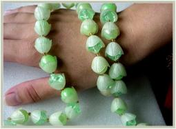 Spring time two tone and double layer of green flower buds vintage necklace