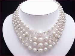 4 - Strand Pearl and Crystal Bib Necklace