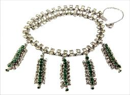 Antiuqe green and clear chatons RS sivler necklace