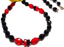 Vintage jet black ruby red faceted glass bead necklace