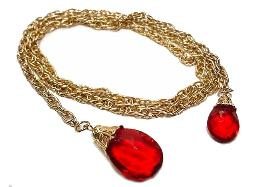 Red Golden lariat wheat chain with red molded glass necklace