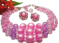 3 Grand Strands Pink Moonglow Lucite Bead Necklace and Earrings