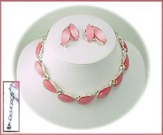 Ladies, Notice This Pink and Silver Thermoset Necklace Set