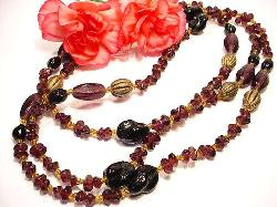 Long 46 Inch Vintage Necklace with Amazing Glass Beads