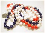 Red White Blue Strand Jewelry, flapper necklace 52 inches in length