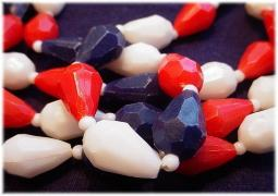 Vintage flapper bead necklace with gorgeous red white blue plastic beads