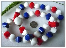 Large Chunky Red White Blue Bead Necklace